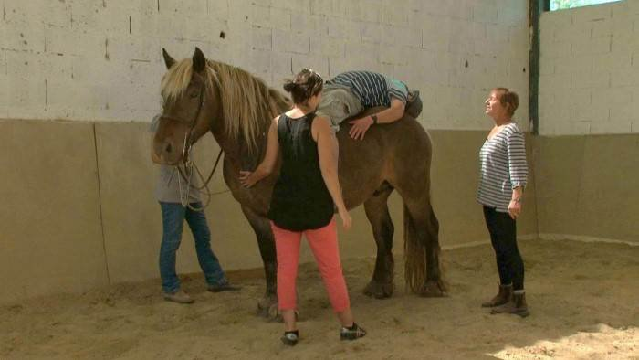 image tiré de la video Le cheval guérisseur avec un cheval et une personne allongé sur son dos